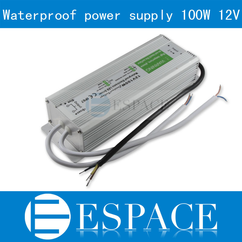 IP67 12V 8.33A 100W AC100-240V Input Electronic Waterproof Led Power Supply/ Led Adapter 12V 100W free shipping<br>