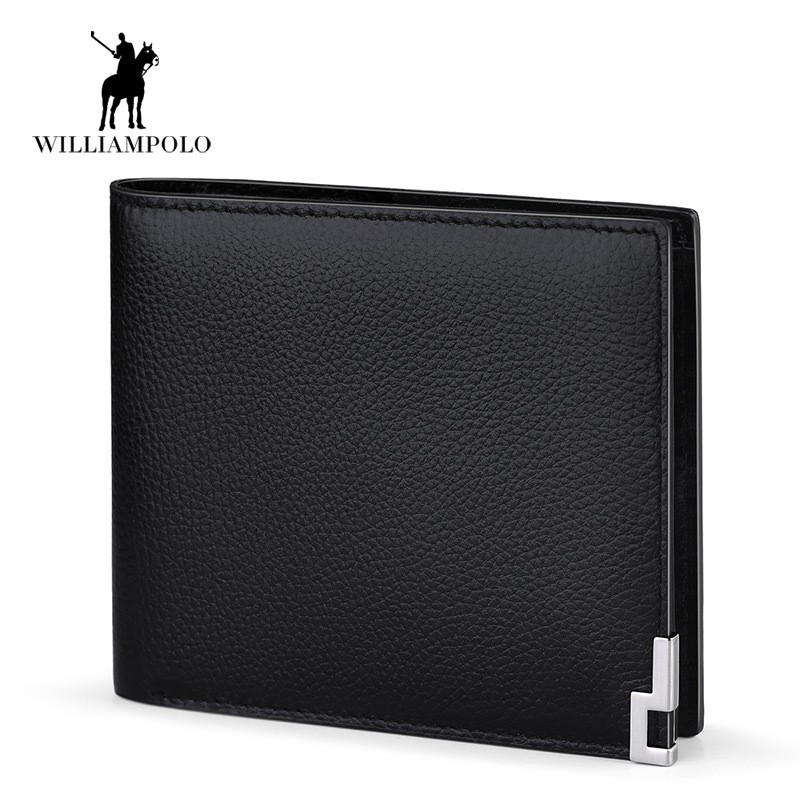 2017 Wallet Men 100% Genuine Leather Short Wallet Vintage Cow Leather Casual Men Wallet Purse Standard 11 Card Holders Wallets<br>