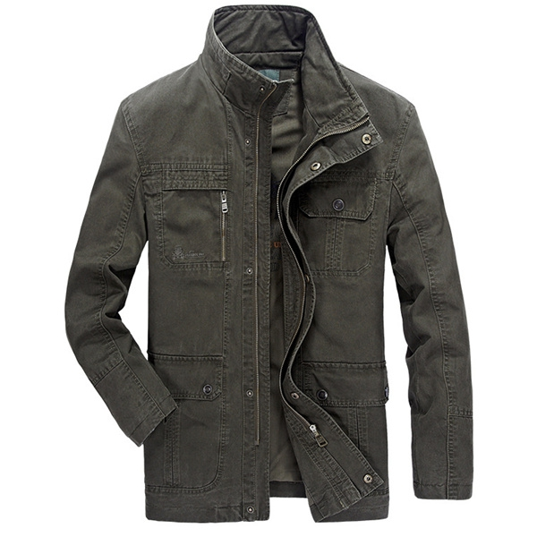 Stylish Multi Pocket Zipper Buon Stand Collar Coon Outwear Jacket for Men