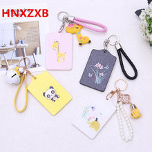 summer women credit card case holder student cartoon PU work badges bus ID business cards cover sets key chain keyring lanyard(China)