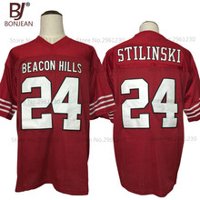 BONJEAN Mens Cheap Stilinski #24 TEEN WOLF TV Series Jersey Beacon Hills Lacrosse American Football Jersey Maroon Stitched Shirt(China)