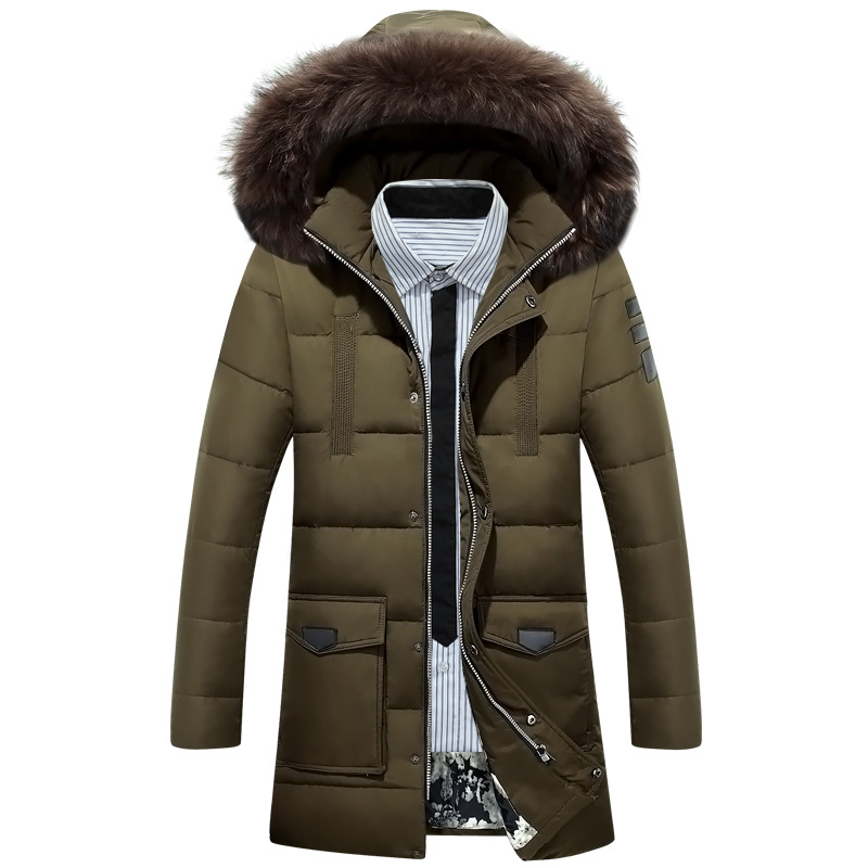 2018 Thicken Warm Winter Duck Down Jacket new arrival man's male solid warm  fur hood parka Plus Size Overcoat Western Style