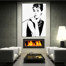 Free Shipping100% Hand-painted Black And White Audrey Hepburn Wall Art Pop Art Oil Painting On Canvas High Quality