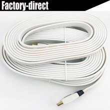 flat HDMI cable 10M white color HDMI 1.4V 3D&full HD1080P 4kX2K resolutions(19+1 copper conductors+foiling+AL braiding)(China)