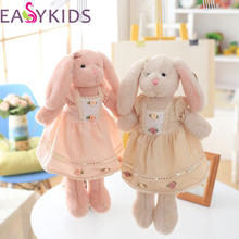 40CM Flower skirt Long Ear Bunny Fluffy Rabbit Plush Toys Cushion Soft Dolls Kid Partner Birthday Christmas Gifts High Quality