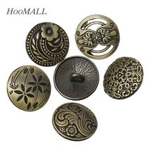 Hoomall 30PCs 17mm Sewing Jeans Buttons Flower Decorative Pattern Metal Buttons Mixed Sewing Accessories Bronze Tone(China)
