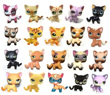 LPS Pet Shop White Black Purple Yellow Brown Pink Sparkle Short Hair Cat Kitty Collection Loose Figure Child Girl Toy