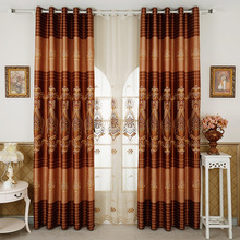 Classical Rope Embroidery Embroidery Curtain Shading Curtains for Living Dining Room Bedroom J(China)