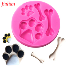 Jialian DIY Liquid silicone cake mold baking double sugar tool mould pet toys chocolate die hand soap die dog a bone FT-0199(China)