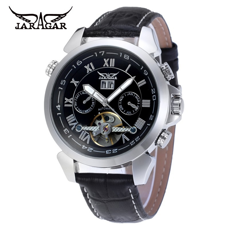 2017 JARAGAR Mens Black Luxury Mens Auto Day/Week/24Hours Mechanical Tourbillon Wrist Watch Gift Box Free Ship<br>
