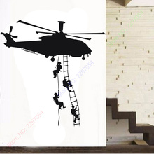Free Shipping Helicopter Army Sticker Adhesive Vinly Wall Art For Boys Bedroom Huge Marines Wall Stickers Home Decoration