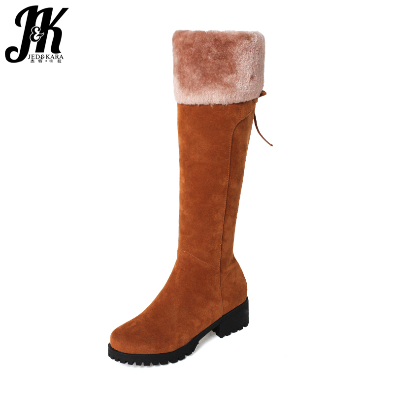 JK Winter Boots Thick Plush Inside Knee High Boots for Women Zipper Snow Boots Chunky Heels Platform Footwear Big Size 32-44 <br>