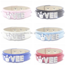 Buy Vee Wristband Bracelets Rhinestone Metal Slide Letter Charm DIY bangles free for $6.99 in AliExpress store