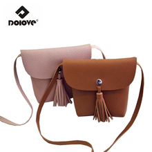 DOLOVE Manufacturers Selling 2016 New Small Women Bag Tassel Shoulder Bag Satchel Mini Mobile Phone Bag Women Messenger Bags
