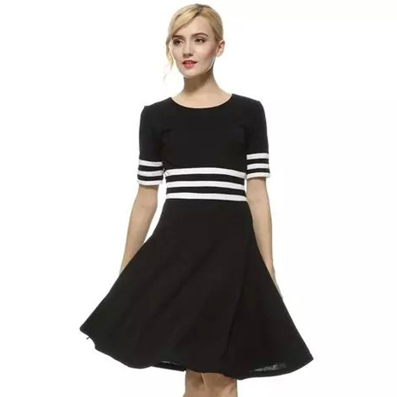Black Amp White Striped Dress Promotion Shop For Promotional