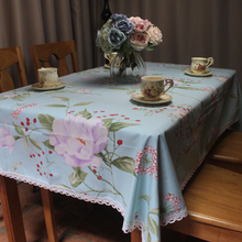 Light Blue 100% Cotton Tablecloth for Dinning Tables Vintage Flowers Table Cover with Handmade Lace Edge for Coffee Tea Stores