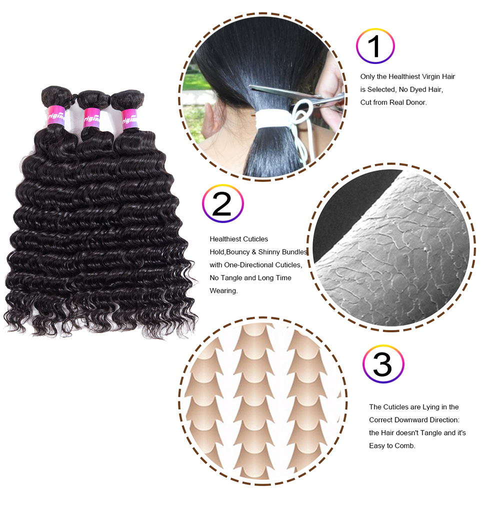 Deep wave human hair deep weave hair hair weave bundles deep wave human hair suppliers Brazilian Deep Wave 3pcs With 13x4Frontal Closure Human Hair Bundles With Frontal Originea Hair Weave