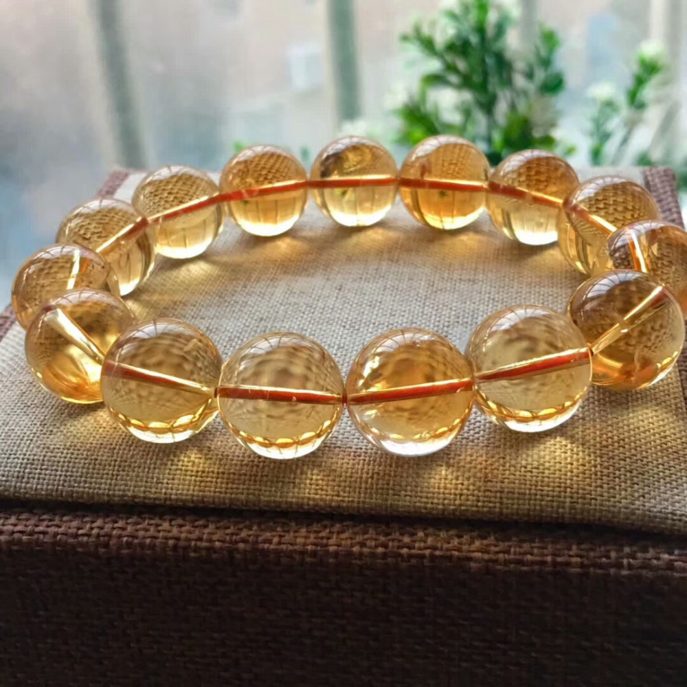 17mm Natural Citrine Quartz Crystal Yellow Bracelet Round Beads Wealthy Gemstone Stone Stretch Woman ManAAAAAA (4)