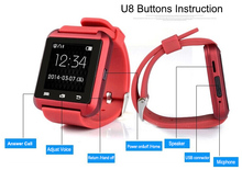 Free Shiping U8 Smartwatch Bluetooth 3.0 U Watch Wristwatch Smart Phone Watch for iPhone Android OS Phones Smartphone Cellphone