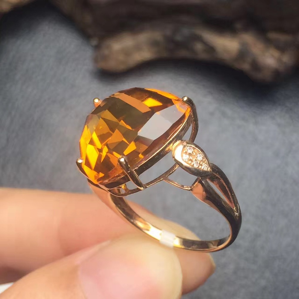 Clover 146mm Fine Jewelry Affordable Good For Money Clean Real 18k Gold  Natural Citrine Ring
