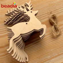 High Quality 10pcs/bag Deer Christmas Tree Elk Snowman Angle Shape Wooden Handicrafts Christmas Tree Decor(China)