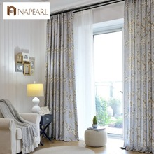 Linen curtains modern printed bedroom curtains American country style decorative home window treatment balcony curtain fabrics