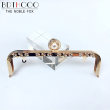 BDTHOOO 20cm Metal Kiss Clasp Lock Coins Purse Frame Non-porous Ring Pearl Head Handle for DIY Making Wallet Handbag Accessory(China)