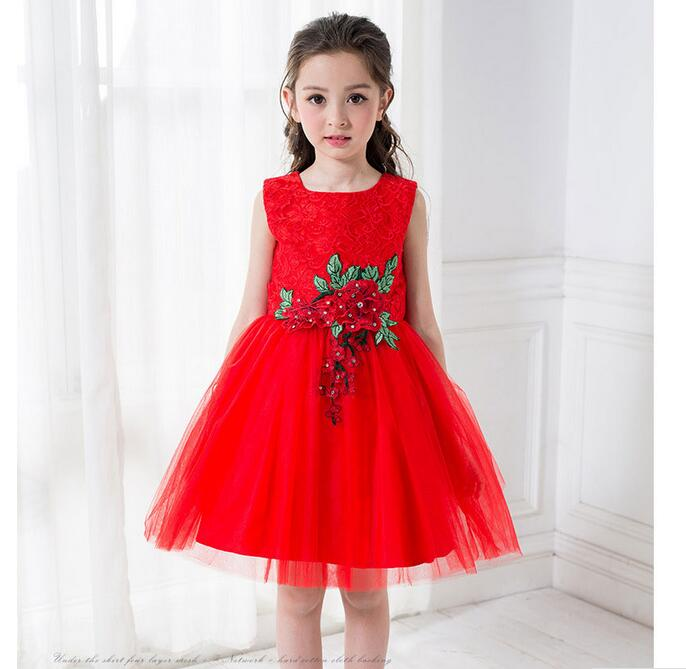 Retail Baby Girl Clothes Casual red embroidery kids dresses Full girl party dress Pretty Pattern girl dress children clothing<br>