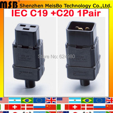 PDU socket Standard IEC320 C19 C20 16A AC Electrical Power Cable Cord Connector Removable plug 1pair(China)