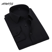 AOWOFS 6XL 8XL Social Shirts Men Dress Shirts Black Long Sleeve Business Formal Shirts Men Big Size Work Uniform 3XL 4XL 5XL 7XL