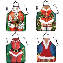 3D Funny Apron Christmas Aprons Adult Santa Claus Aprons Women And men Dinner Party Cooking Apron Cozinha Tablier Wholesale(China)