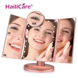 Трехстворчатое косметическое зеркало 4 в 1 со светодиодной подсветкой и 2/3/10 - кратным увеличением
