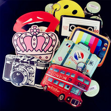 Funny Cartoon Mini Wallet Girls Keychain Card Holders Leather Bus Camera Smile Lipstick Zipper Change Wallet Childern Purse
