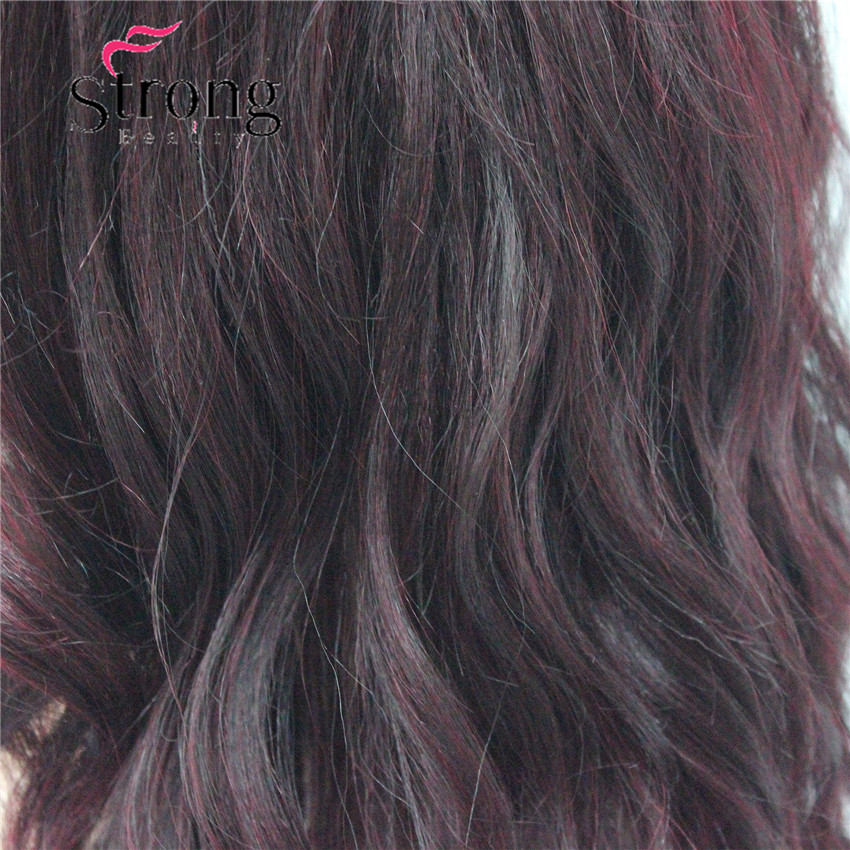 HHG-9126 #T1B-99T Lace Front Wig Quality Heat Ok Synthetic Off Black Mix Deep Purple Wavy Long Wig (4)