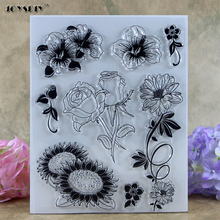 Sunflower Rose Various Flowers Scrapbook DIY photo cards account rubber stamp clear stamp transparent stamp   14.0*18.0 CM