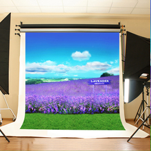 Wedding Photo Backdrops Purple Lavender Grassland Birthday Backdrops Sky and White Clouds Background for Photographic Studio