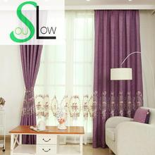 Slow Soul Blue Green Grey Purple Mirror Peony Curtain White Embroidered Curtains Tulle Cortinas For Living Room Kitchen Bedroom