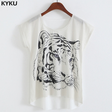 Buy 2017 Summer White Tiger 3D Print T-Shirt Women Summer Clothes Round Collar Women T Shirt Female Tops Fashion Tee Brand Clothing for $5.79 in AliExpress store