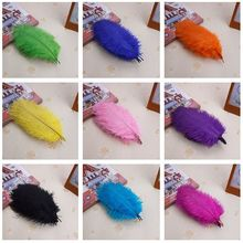 wholesale 100 / pcs 6-8inch colorful feathers 15-20 cm red ostrich feathers wedding decoration black feather free shipping(China)