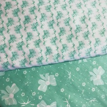 Shabby Chic 100% Cotton Green Bowknot Floral Printed Fabric Elegant Patchwork Cloth Quilting Tissue 160cm wide Half Meter(China)