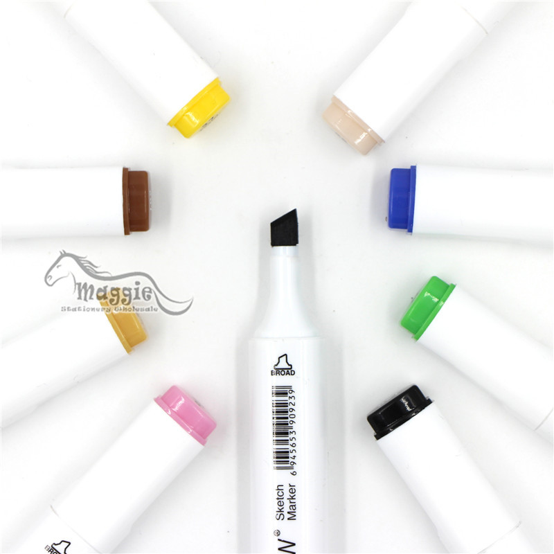 TOUCHNEW Sketch Markers Alcohol Based Double-ended Art Markers, Chisel Tip and Fine Tip, set of 40 assorted colors  Marcadores<br>