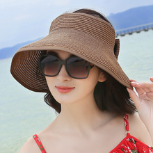Empty Top Beach Hat Women Summer Sun Hat Large Brim Sun Cap Sunscreen Folding Hat Chapeu Feminino(China)