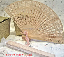 FREE SHIPPING 100PCS Sandalwood Fans w Organza Bag Wedding Favors Event Gifts Baby Shower Birthday Party Supplies