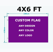 Custom Flag Any Size Brand Company Logo Flag 4X6FT Banner 120X180cm any color brass grommets,free shipping(China)
