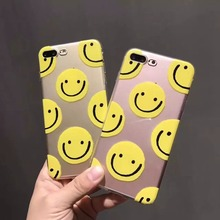 thicken cute smile face expression transparent cartoon TPU soft gel silicone clear case for iphone 6 6s 6 s 7 plus cases cover