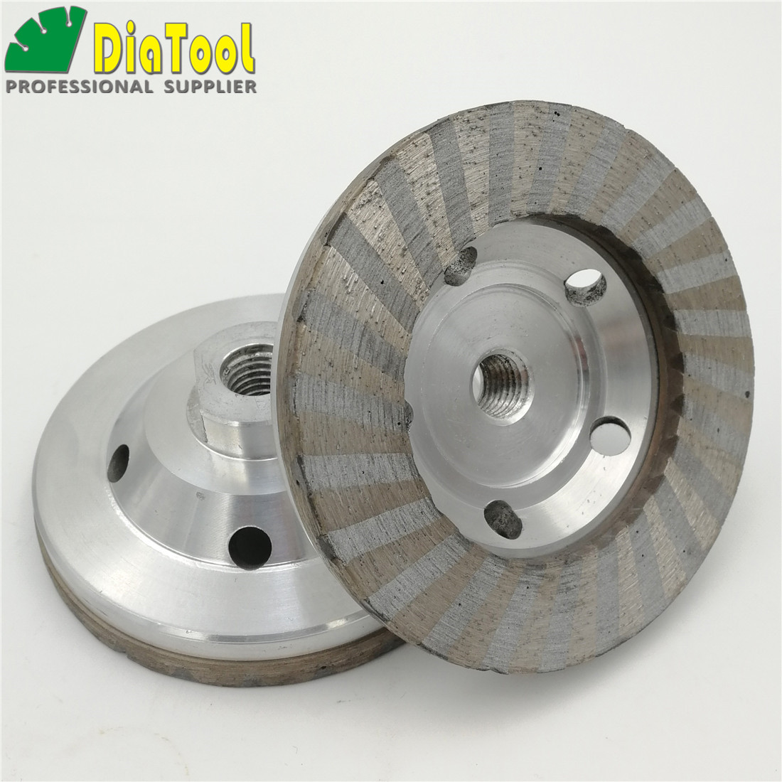DIATOOL 2pcs Dia100mm/4 Aluminum Based Diamond Grinding Cup Wheel M14 Thread #50 #100 available Grinding Disc Granite Marble<br>