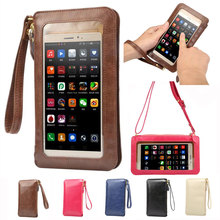 NEW For Phones within 6.3 inches PU Leather + Acrylic Shoulder Pouch Bag Support Touch Screen for iPhone 6 6S Plus for Samsung