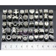 Wholesale 50 pcs/Lot Vintage Silver Mix Big Hole Charm Beads Fit European Snake Chain Bracelet Jewelry DIY Choose Style ZYYB