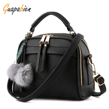 Guapabien Spring Summer Women Shoulder Bag Hairball Handbags Small Leather Satchels Crossbody Bags Women Messenger Bag
