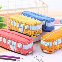 Novelty Animals School Bus Shape Canvas Pencil Case Stationery Storage Organizer Bag School Office Supply Escolar Papelaria(China)